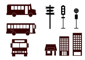 バス関連のイラスト素材