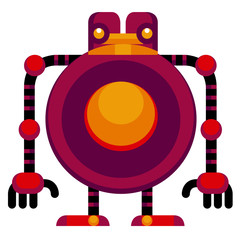 Cartoon Funny Robot Isolated On White Background