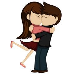Kiss collection - Lovely couple kissing (brunette girl)