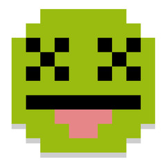 Cute Cartoon Pixel Dead Face Isolated