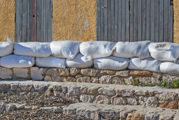 sandbags at the beach