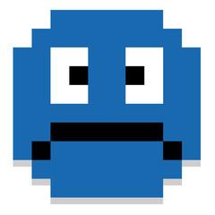 Cute Cartoon Pixel Sad Face Isolated