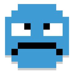 Cute Cartoon Pixel Grumpy Face
