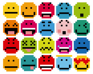 Set Of Different Cartoon Pixel Faces