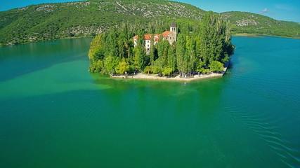 Island Visovac, aerial overshoot
