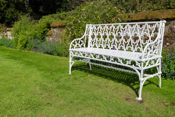 White benches in Palace Gardens