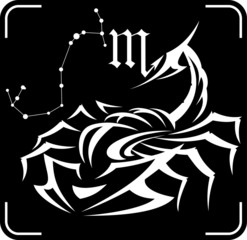Scorpio, the astrological sign of the zodiac, constellation, hor