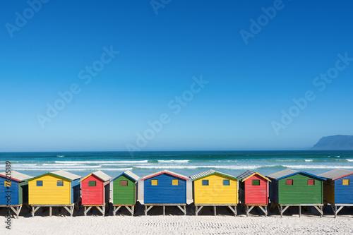 South Africa Bunte Strandhäuser bei Kapstadt