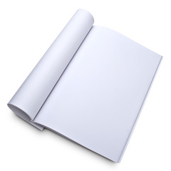 Blank open magazine isoalated on white with a clipping path