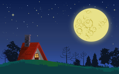 Country cottage in full moon night