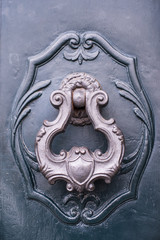 Dettaglio portone, figura gotica scolpita, legno