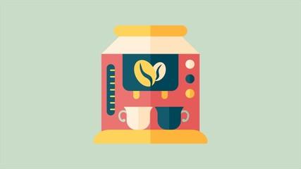 coffee machine flat style animation,4K
