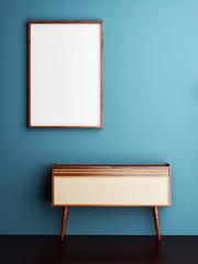 mock up poster on blue wall, 3d illustration