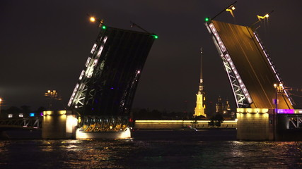 Palace drawbridge. Saint-Petersburg. 4K.