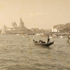 tourist in a gondola in vintage tone