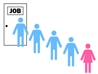 woman standing after men in a queue for a job
