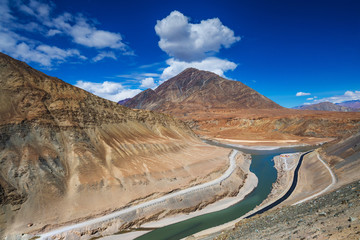 Confluence of Zanskar and Indus rivers - Leh, Ladakh, India.Conf