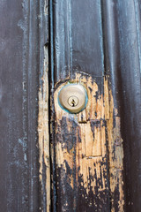 Dettaglio porta, serratura, chiuso