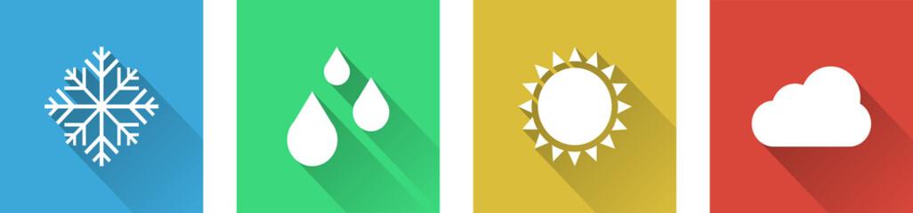 Seasons Icon Set - Vector