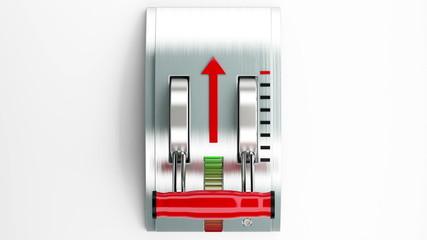 Metallic gear shift. concept of acceleration. Alpha matte