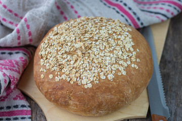 freshly baked homemade oatmeal bread