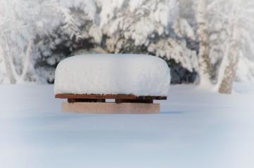 Parkbank mit Schneehaube