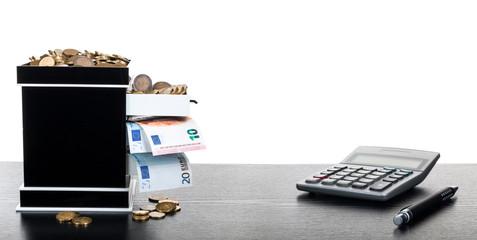 Taschenrechner Stift Münzen Euroscheine