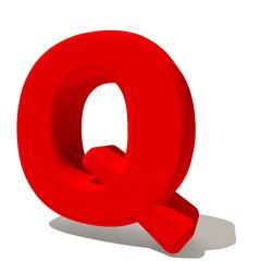 q qu lettera 3d rossa, isolata su fondo bianco
