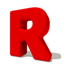 r erre lettera 3d rossa, isolata su fondo bianco