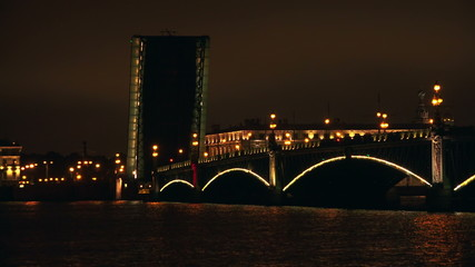 Troitsky drawbridge. Saint-Petersburg. 4K.