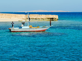 Fishermen go to the Red Sea to fish. Egypt