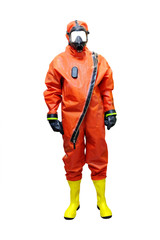 rescuer in a protective suit isolated