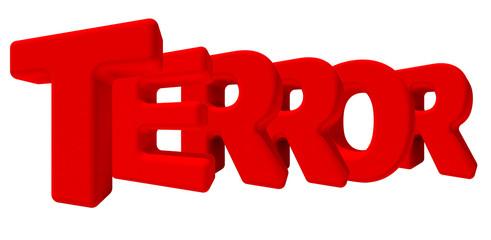 Terrore paura parola 3d rossa, isolata su fondo bianco