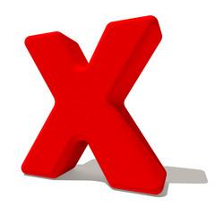 x lettera 3d rossa, isolata su fondo bianco