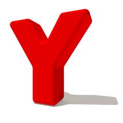 y ypsilon lettera 3d rossa, isolata su fondo bianco