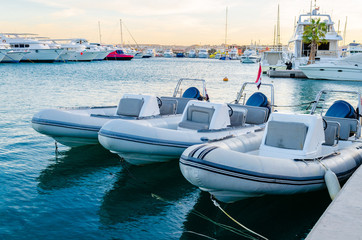 Marina boats and yachts in the evening