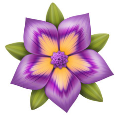 abstract purple flower illustration isolated on white