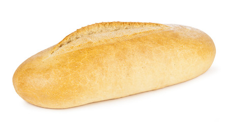 Crunchy crust bread isolated on white background.