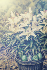 Easter Lilies and Easter Eggs - Retro