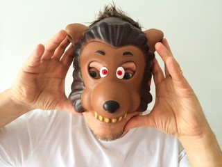 Man with animal mask