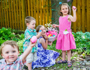 Children Finding Eggs on an Easter Egg Hunt