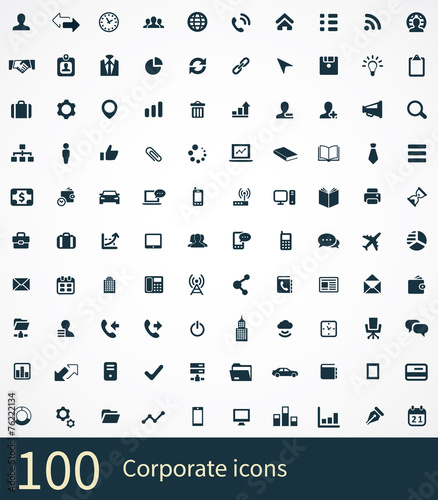 100 corporate icons poster
