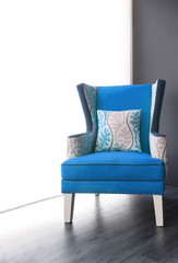 Modern blue fabric armchair