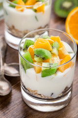 Yogurt with muesli and fruits