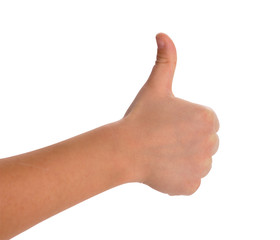 children's hand showing thumb up with Clipping Path included