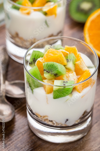 canvas print picture Yogurt with muesli and fruits