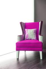 Modern Pink fabric armchair