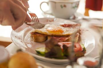 fried egg on bread for breakfast