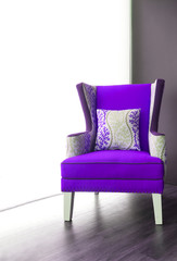 Modern purple fabric armchair