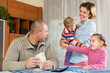 Happy family with banknotes
